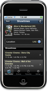 Naviflix Showtimes Screen